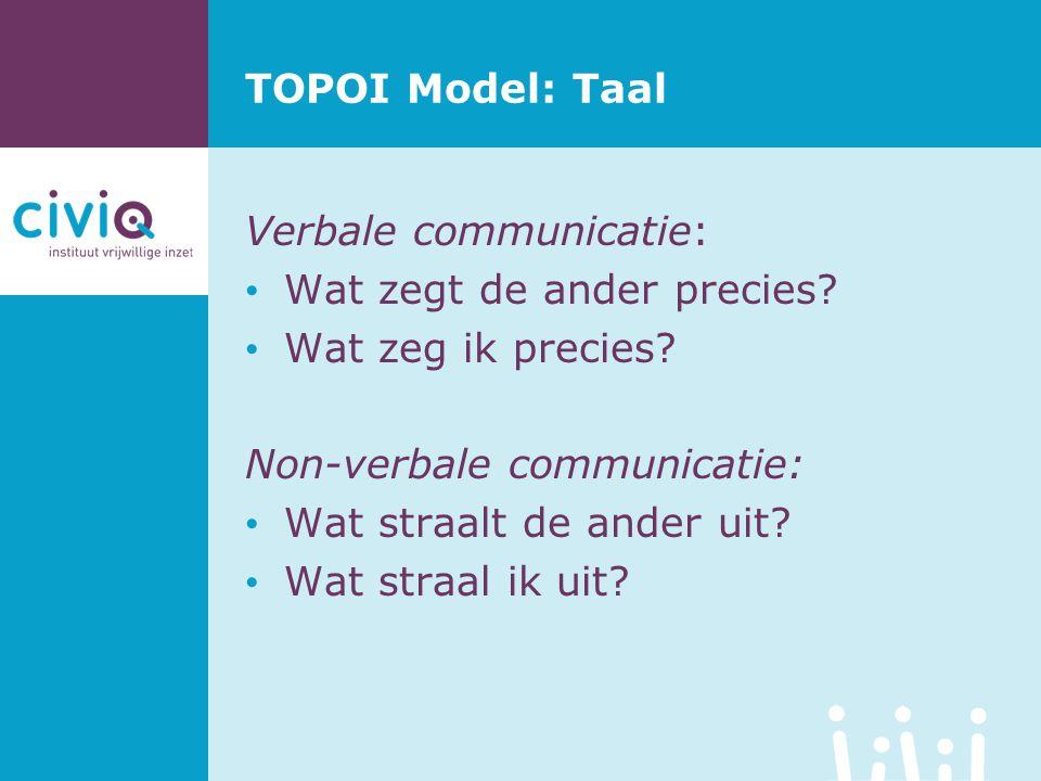 TOPOI Model: Taal Verbale communicatie: Wat zegt de ander precies? Wat zeg ik precies? Non-verbale communicatie: Wat straalt de ander uit? Wat straal