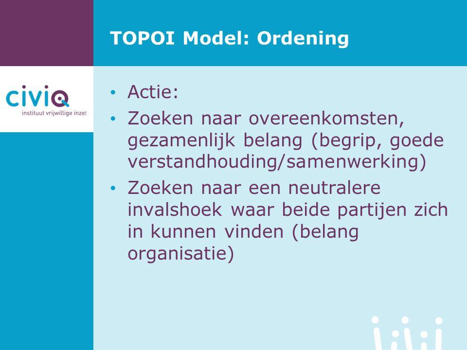 TOPOI Model: Ordening Actie: Zoeken naar overeenkomsten, gezamenlijk belang (begrip, goede verstandhouding/samenwerking) Zoeken naar een neutralere in