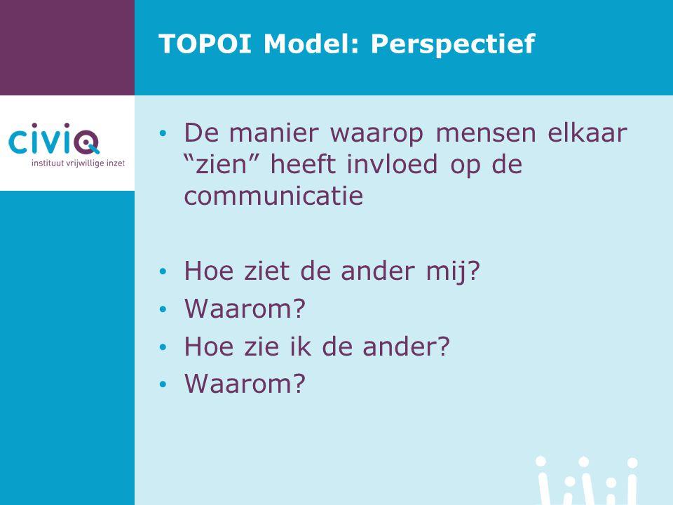 """TOPOI Model: Perspectief De manier waarop mensen elkaar """"zien"""" heeft invloed op de communicatie Hoe ziet de ander mij? Waarom? Hoe zie ik de ander? Wa"""