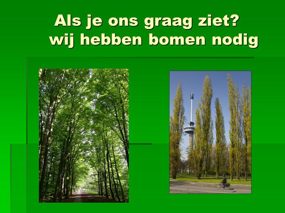 Als je ons graag ziet? wij hebben bomen nodig Als je ons graag ziet? wij hebben bomen nodig