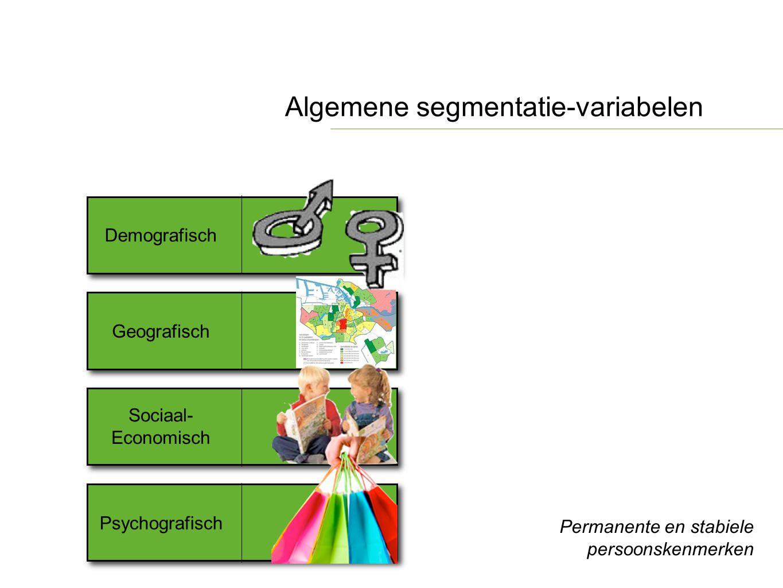 Algemene segmentatie-variabelen Demografisch Sociaal- Economisch Psychografisch Permanente en stabiele persoonskenmerken Geografisch