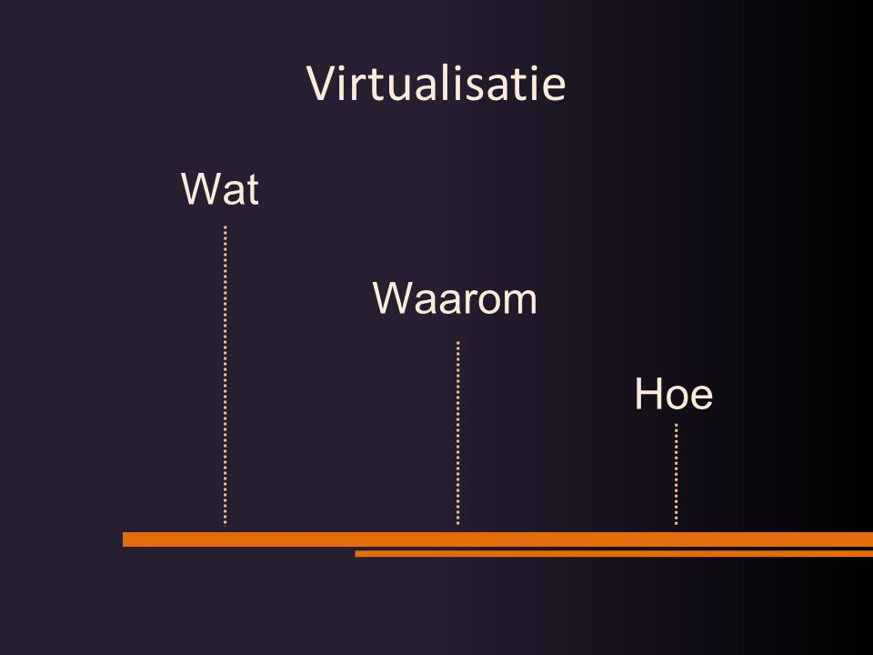Bert Bouwhuis – 8 okt 2008: Virtualisatie is geen hype die vanzelf weer overwaait Bert Bouwhuis – 8 okt 2008: Bare-metal server operating systemen zullen een uitzondering zijn in 2011, later ook desktops & laptops Bert Bouwhuis – 8 okt 2008: Op 50% van alle nieuw verkochte CPU's zal een hypervisor draaien in 2013 (ook PDA's, telefoons, …) Bert Bouwhuis – 8 okt 2008: Een € die je besteedt aan virtualisatie zal meer opleveren dan een € op een IJslandse bank Voorspellingen…