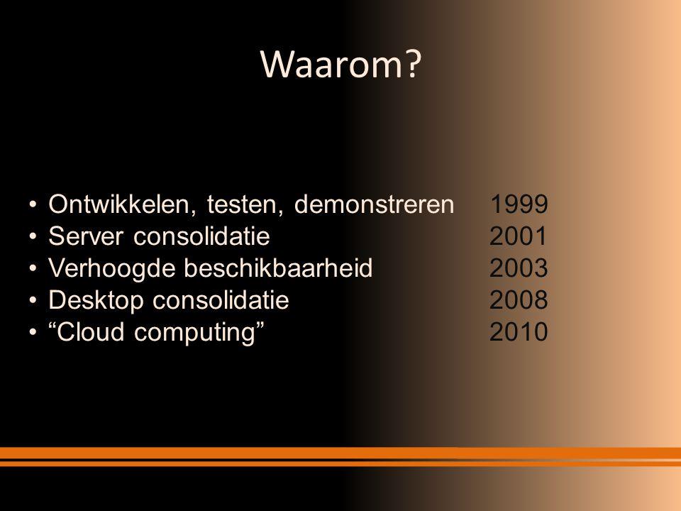 """Waarom? Ontwikkelen, testen, demonstreren1999 Server consolidatie2001 Verhoogde beschikbaarheid2003 Desktop consolidatie2008 """"Cloud computing""""2010"""