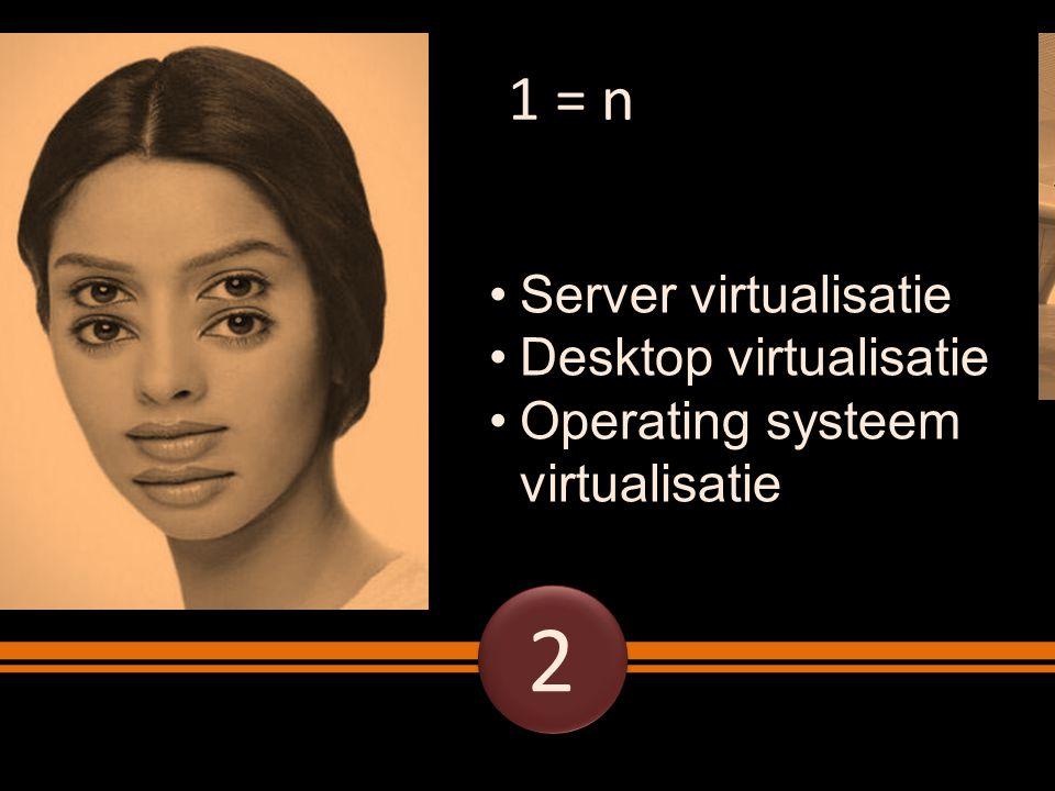 1 = n Server virtualisatie Desktop virtualisatie Operating systeem virtualisatie 2 2