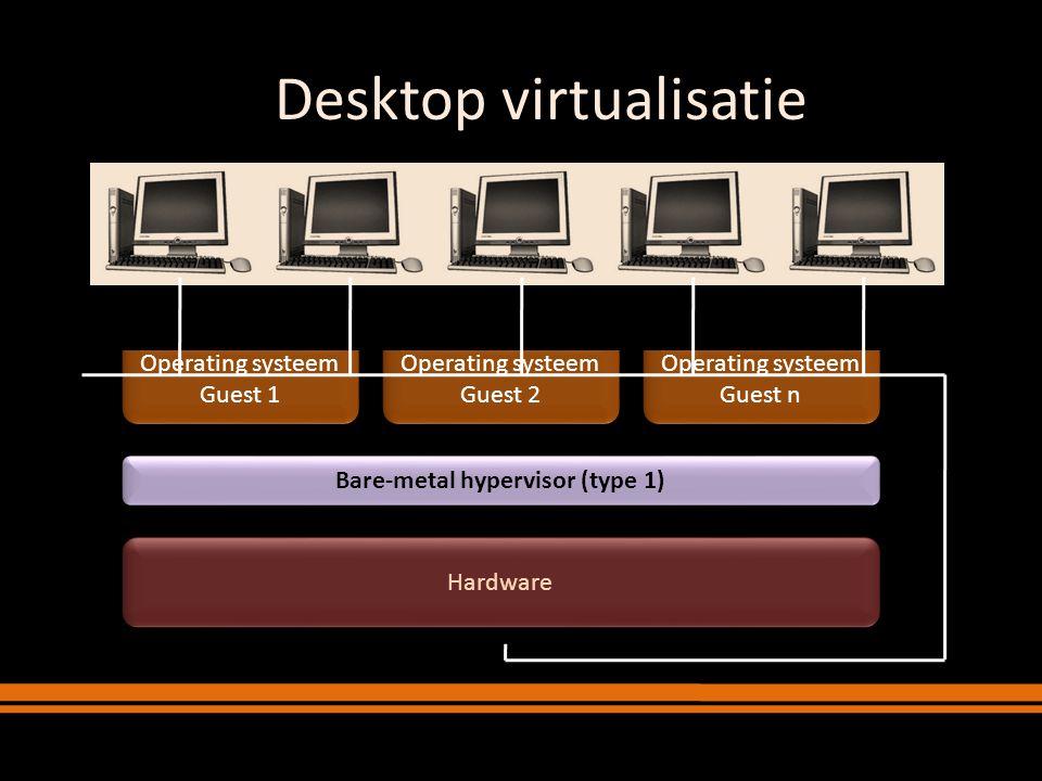 Server virtualisatie Hardware Operating systeem Guest n Operating systeem Guest n Applicaties Bare-metal hypervisor (type 1) Operating systeem Guest 2