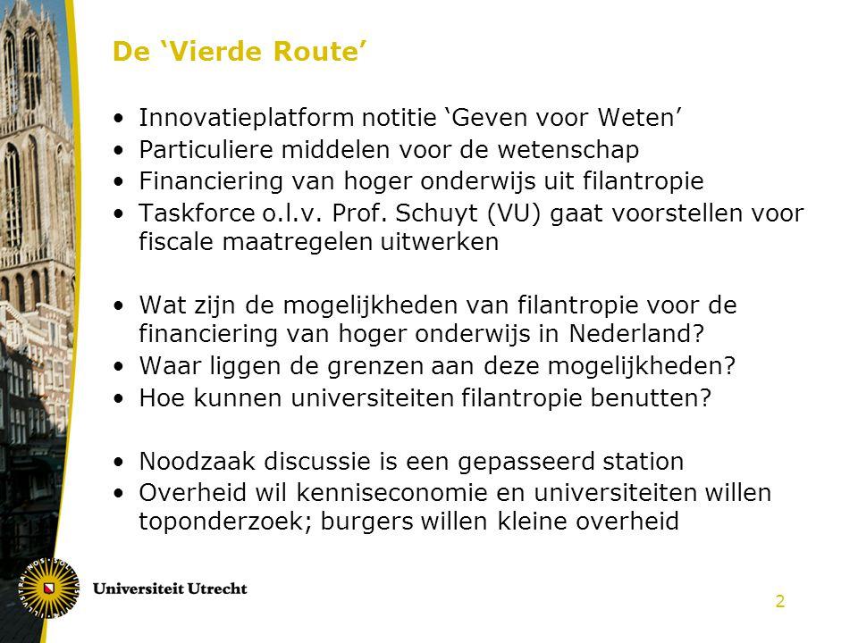 2 De 'Vierde Route' Innovatieplatform notitie 'Geven voor Weten' Particuliere middelen voor de wetenschap Financiering van hoger onderwijs uit filantropie Taskforce o.l.v.