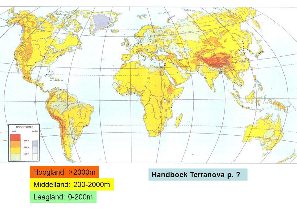 Laagland: 0-200m Middelland: 200-2000m Hoogland: >2000m Handboek Terranova p. ?