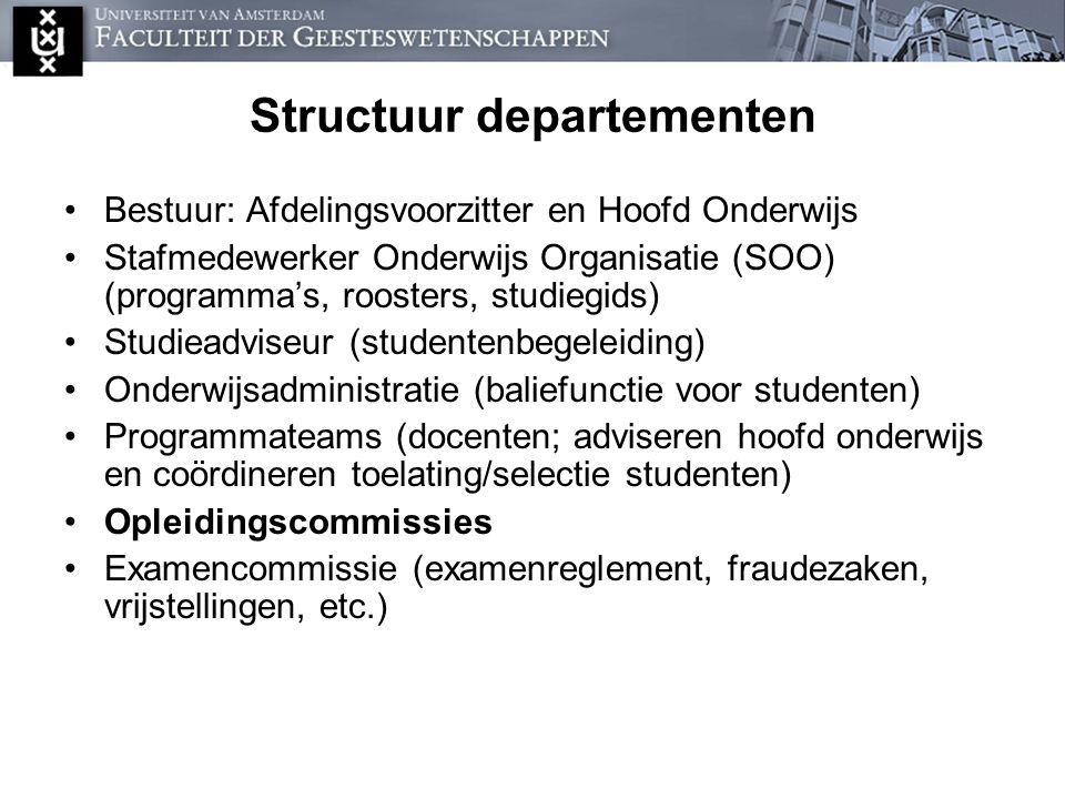 Structuur departementen Bestuur: Afdelingsvoorzitter en Hoofd Onderwijs Stafmedewerker Onderwijs Organisatie (SOO) (programma's, roosters, studiegids)