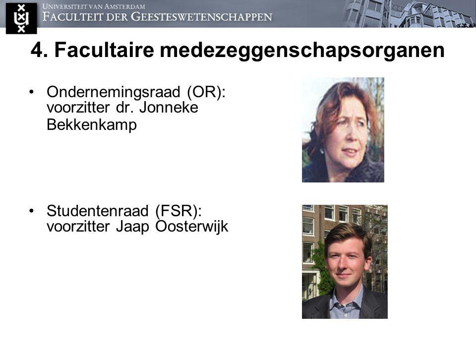 4. Facultaire medezeggenschapsorganen Ondernemingsraad (OR): voorzitter dr. Jonneke Bekkenkamp Studentenraad (FSR): voorzitter Jaap Oosterwijk