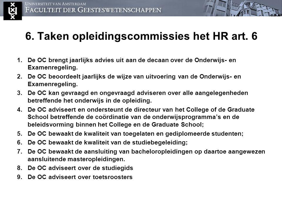 6. Taken opleidingscommissies het HR art. 6 1.De OC brengt jaarlijks advies uit aan de decaan over de Onderwijs- en Examenregeling. 2.De OC beoordeelt