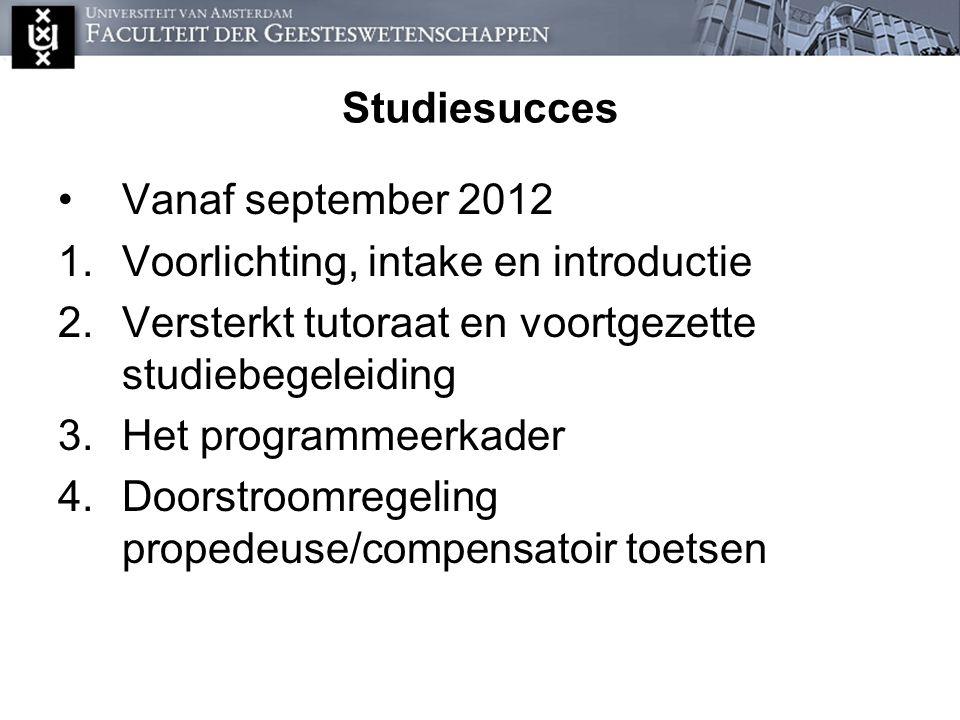 Studiesucces Vanaf september 2012 1.Voorlichting, intake en introductie 2.Versterkt tutoraat en voortgezette studiebegeleiding 3.Het programmeerkader