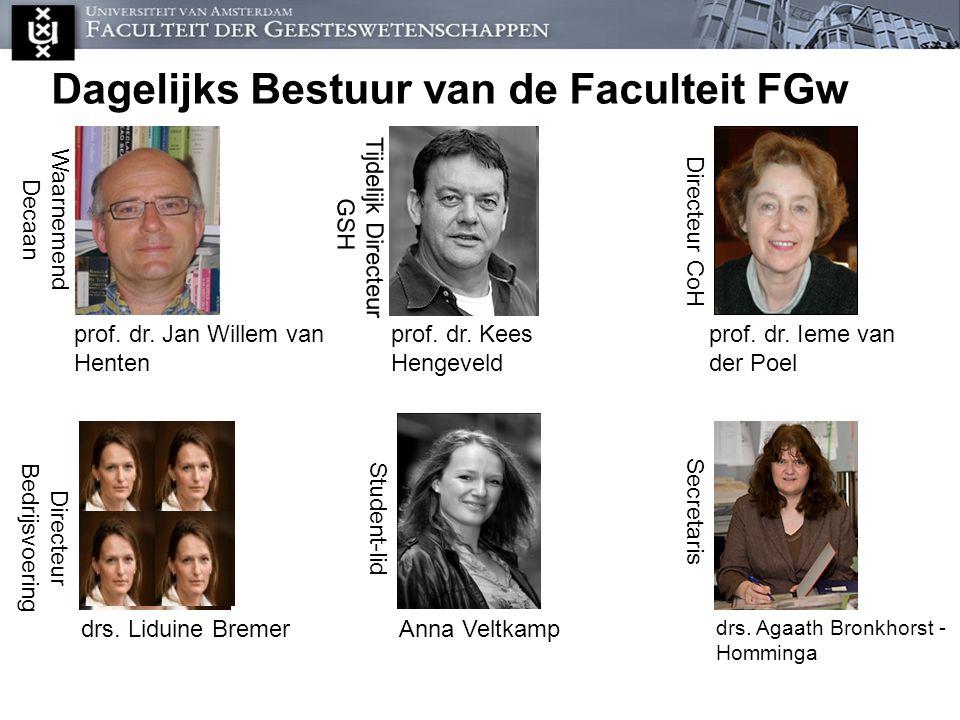 Dagelijks Bestuur van de Faculteit FGw Waarnemend Decaan prof. dr. Jan Willem van Henten Tijdelijk Directeur GSH Directeur CoH prof. dr. Ieme van der
