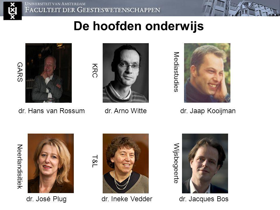 De onderwijsdirecteuren De hoofden onderwijs dr. Hans van Rossum GARS KRC dr. Arno Witte Mediastudies dr. Jaap Kooijman Neerlandisitiek dr. José Plug