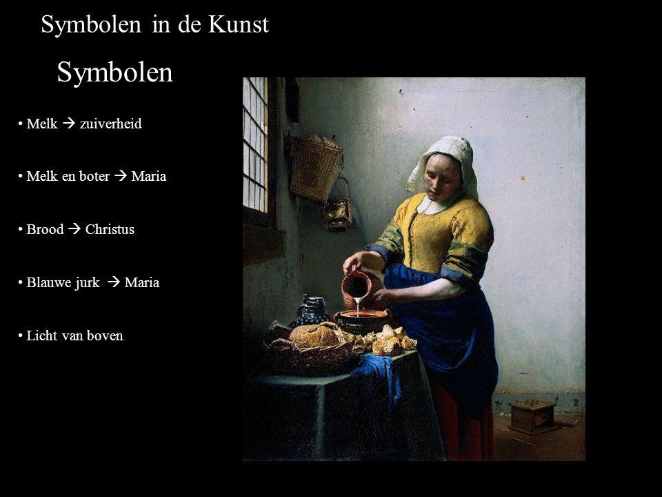 Symbolen in de Kunst Symbolen Melk  zuiverheid Melk en boter  Maria Brood  Christus Blauwe jurk  Maria Licht van boven