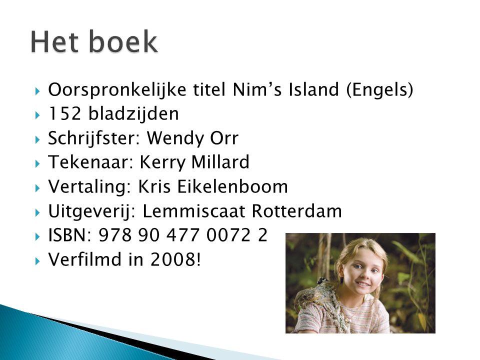  Oorspronkelijke titel Nim's Island (Engels)  152 bladzijden  Schrijfster: Wendy Orr  Tekenaar: Kerry Millard  Vertaling: Kris Eikelenboom  Uitg