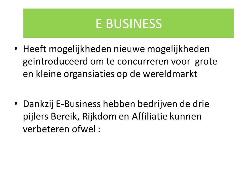 E BUSINESS Heeft mogelijkheden nieuwe mogelijkheden geintroduceerd om te concurreren voor grote en kleine organsiaties op de wereldmarkt Dankzij E-Bus