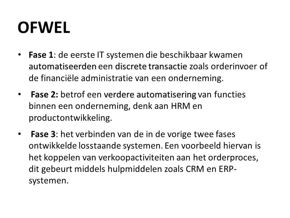 OFWEL automatiseerdendiscrete transactie Fase 1: de eerste IT systemen die beschikbaar kwamen automatiseerden een discrete transactie zoals orderinvoe