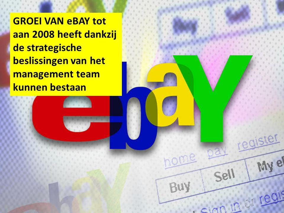 GROEI VAN eBAY tot aan 2008 heeft dankzij de strategische beslissingen van het management team kunnen bestaan