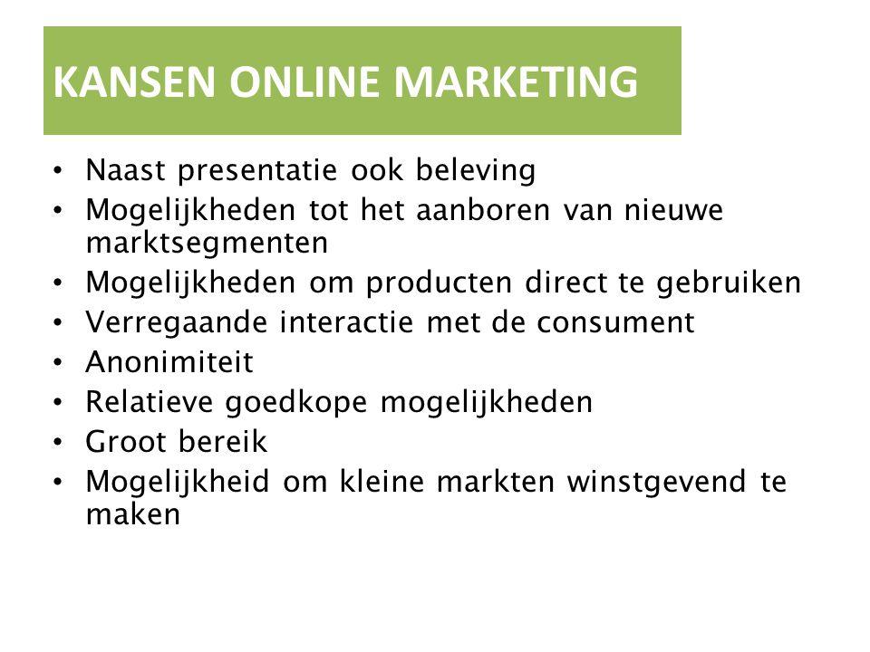 KANSEN ONLINE MARKETING Naast presentatie ook beleving Mogelijkheden tot het aanboren van nieuwe marktsegmenten Mogelijkheden om producten direct te g