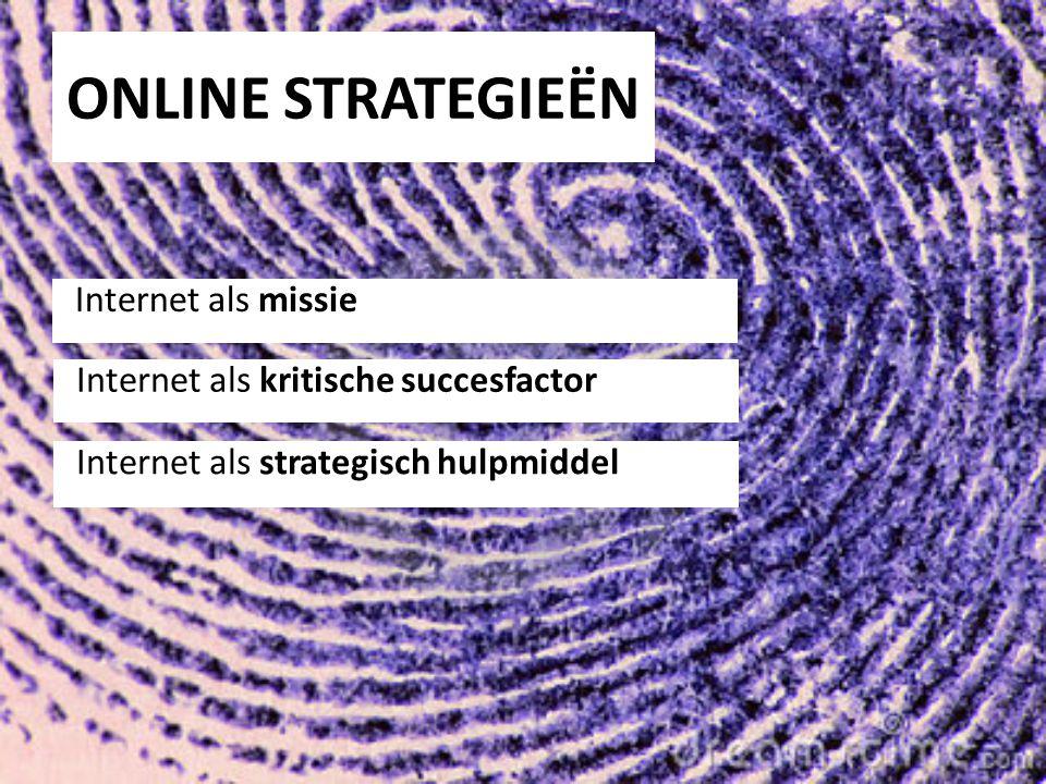 ONLINE STRATEGIEËN Internet als missie Internet als kritische succesfactor Internet als strategisch hulpmiddel