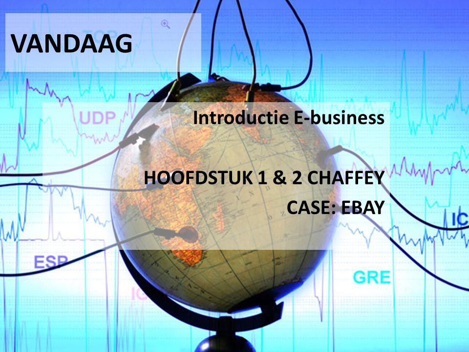 VANDAAG Introductie E-business HOOFDSTUK 1 & 2 CHAFFEY CASE: EBAY