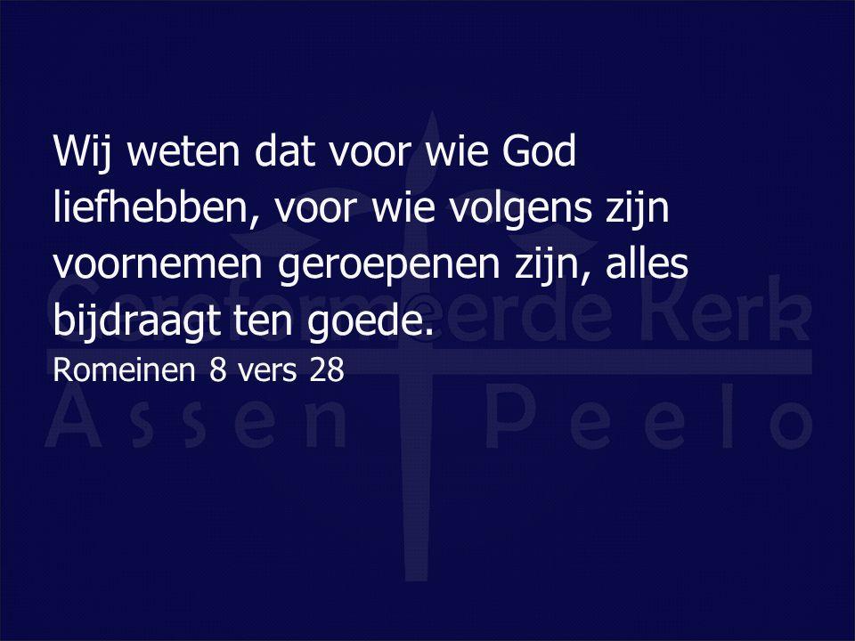 Wij weten dat voor wie God liefhebben, voor wie volgens zijn voornemen geroepenen zijn, alles bijdraagt ten goede. Romeinen 8 vers 28