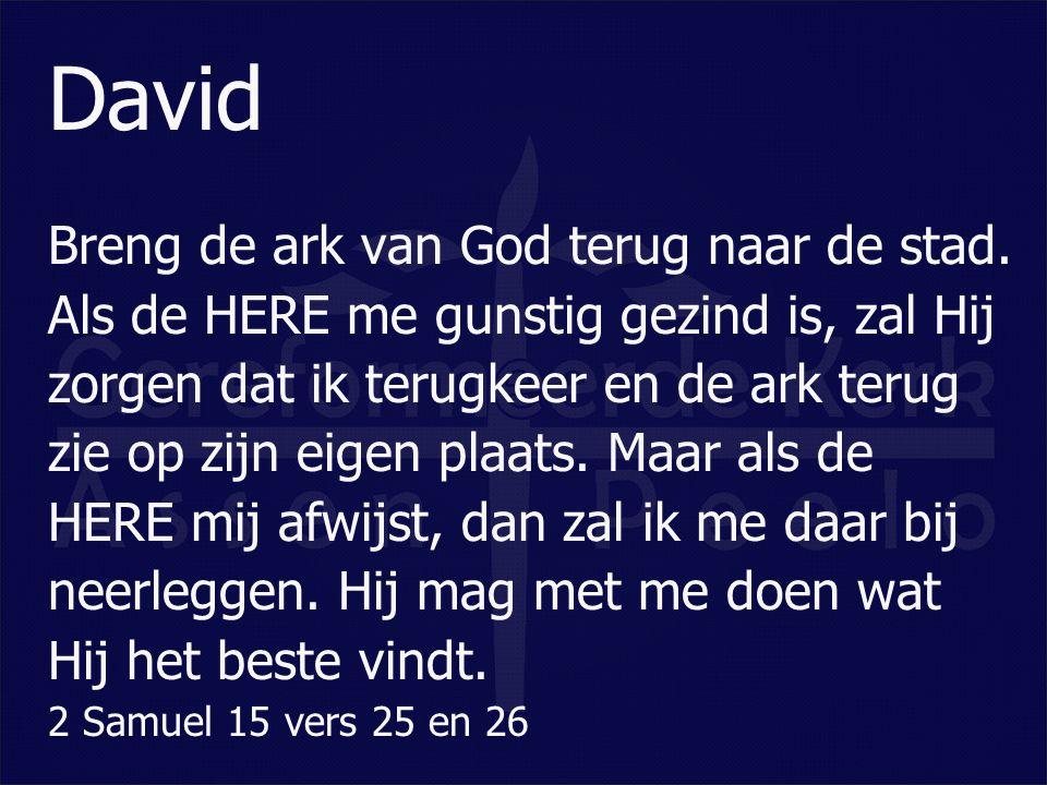 David Breng de ark van God terug naar de stad. Als de HERE me gunstig gezind is, zal Hij zorgen dat ik terugkeer en de ark terug zie op zijn eigen pla