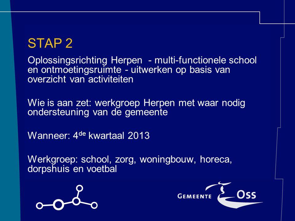 STAP 2 Oplossingsrichting Herpen - multi-functionele school en ontmoetingsruimte - uitwerken op basis van overzicht van activiteiten Wie is aan zet: w