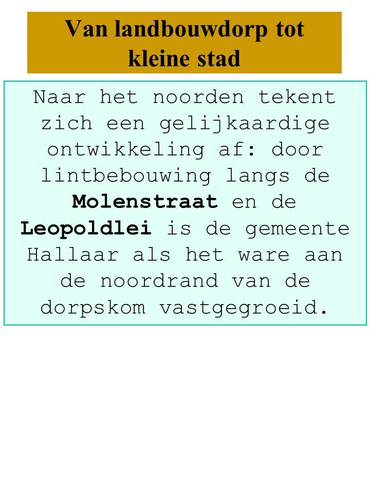 Naar het noorden tekent zich een gelijkaardige ontwikkeling af: door lintbebouwing langs de Molenstraat en de Leopoldlei is de gemeente Hallaar als het ware aan de noordrand van de dorpskom vastgegroeid.