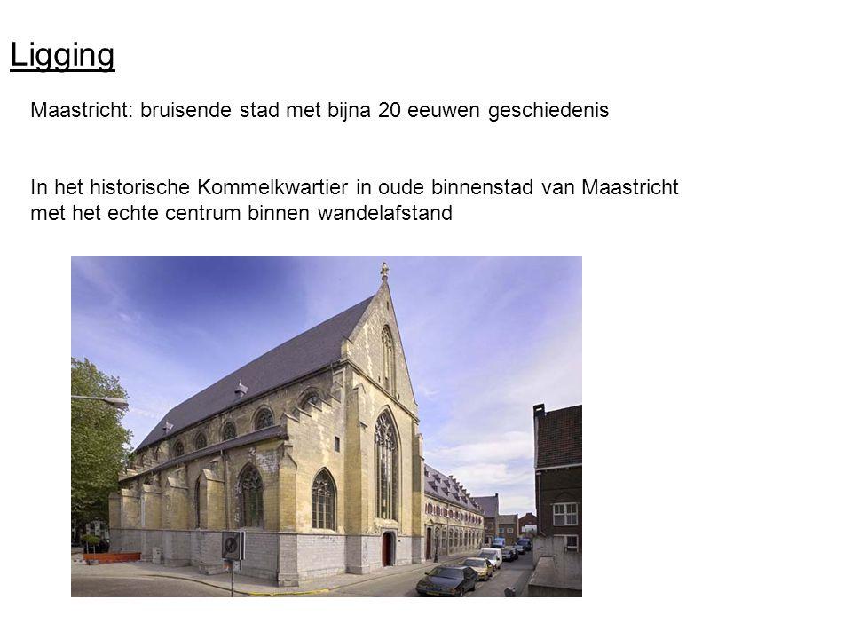 Ligging Maastricht: bruisende stad met bijna 20 eeuwen geschiedenis In het historische Kommelkwartier in oude binnenstad van Maastricht met het echte centrum binnen wandelafstand