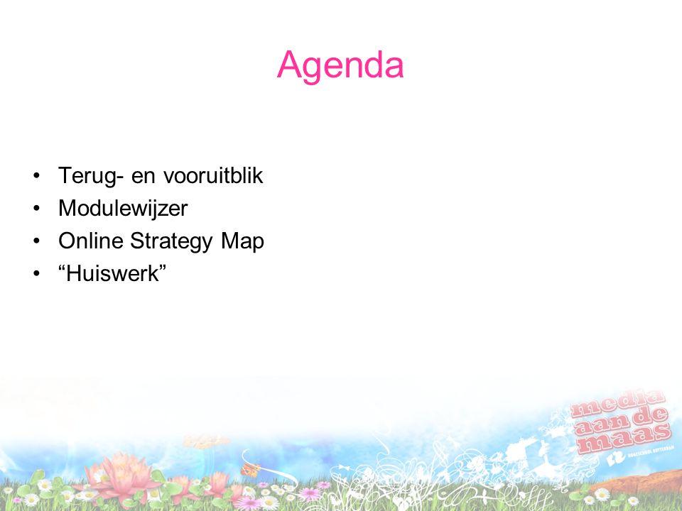 """Agenda Terug- en vooruitblik Modulewijzer Online Strategy Map """"Huiswerk"""""""