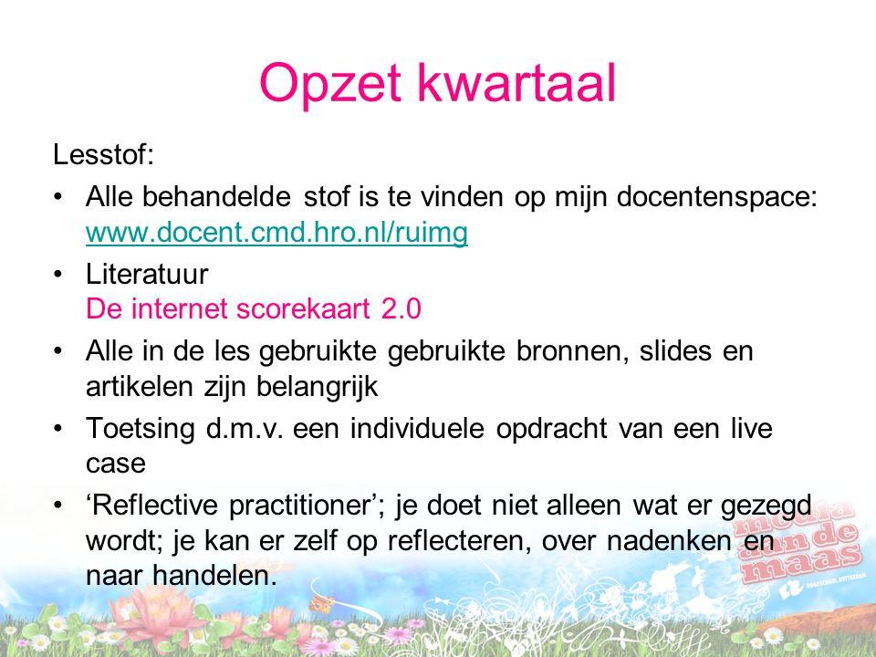 Opzet kwartaal Lesstof: Alle behandelde stof is te vinden op mijn docentenspace: www.docent.cmd.hro.nl/ruimg www.docent.cmd.hro.nl/ruimg Literatuur De