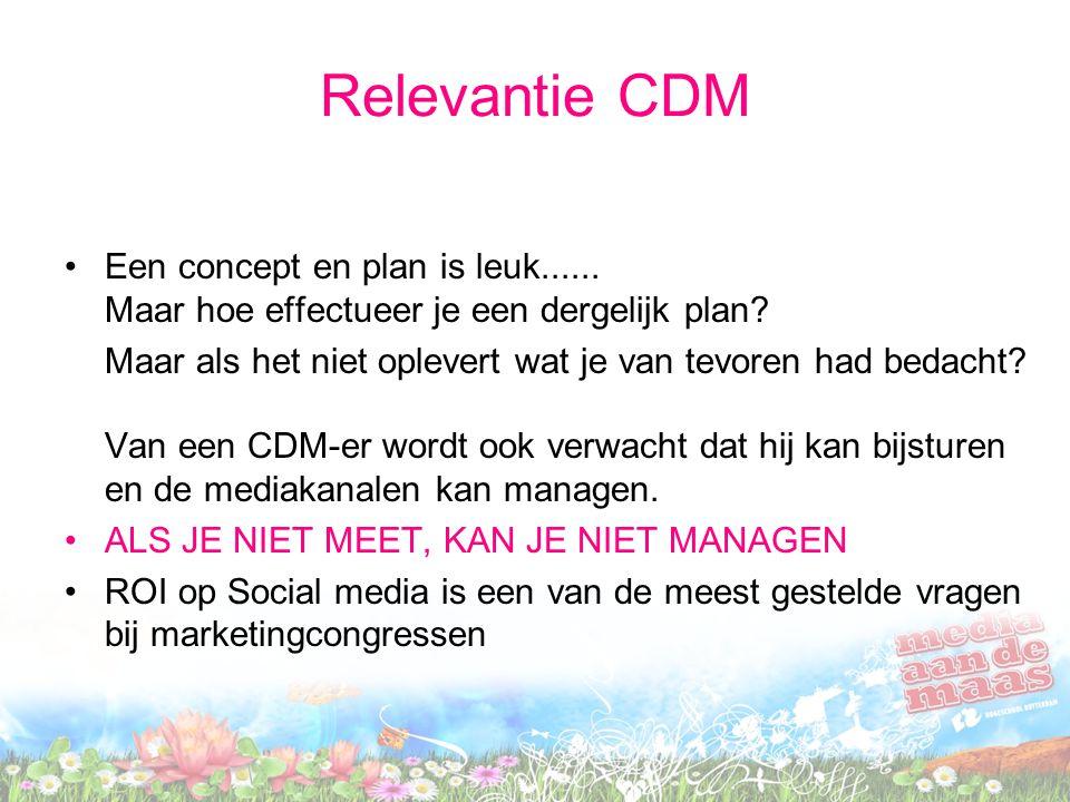 Relevantie CDM Een concept en plan is leuk...... Maar hoe effectueer je een dergelijk plan? Maar als het niet oplevert wat je van tevoren had bedacht?