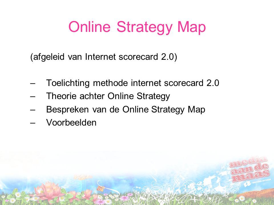 Online Strategy Map (afgeleid van Internet scorecard 2.0) –Toelichting methode internet scorecard 2.0 –Theorie achter Online Strategy –Bespreken van d