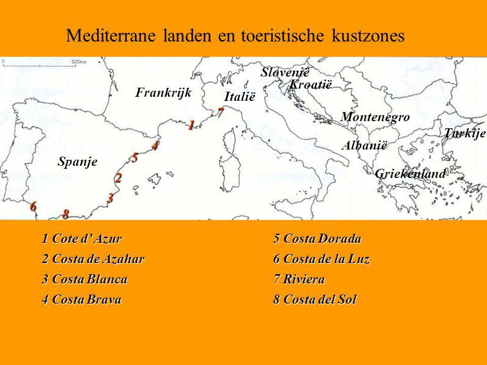 Mediterrane landen en toeristische kustzones Spanje Frankrijk Italië Slovenië Kroatië Montenegro Albanië Griekenland Turkije 8 1 2 3 4 5 6 7 1 Cote d'