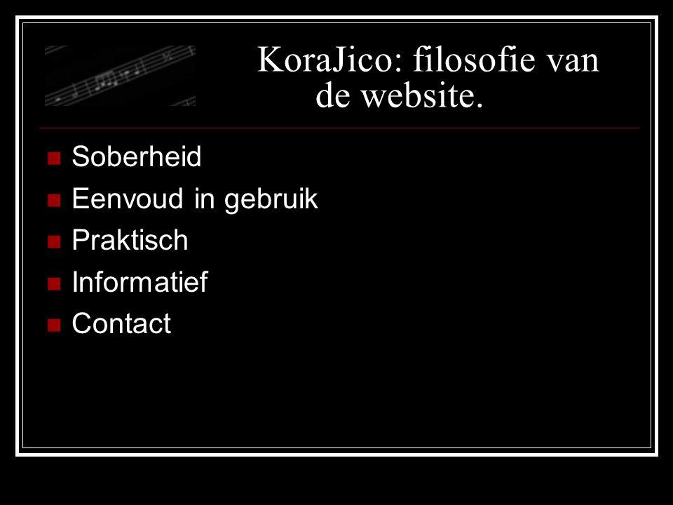KoraJico: filosofie van de website. Soberheid Eenvoud in gebruik Praktisch Informatief Contact