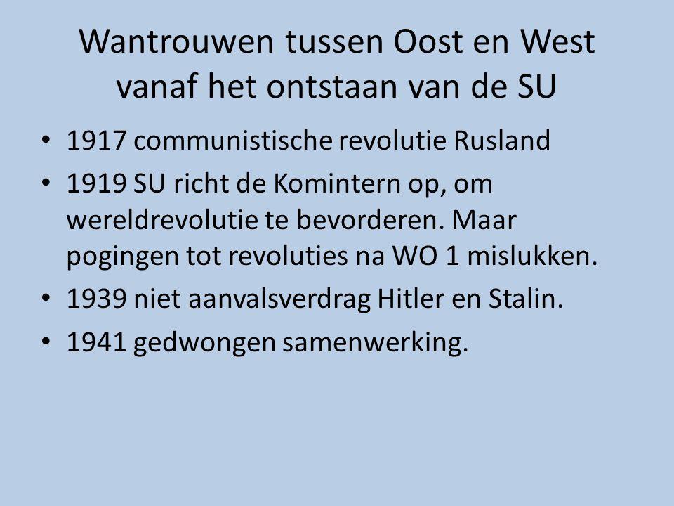 Wantrouwen tussen Oost en West vanaf het ontstaan van de SU 1917 communistische revolutie Rusland 1919 SU richt de Komintern op, om wereldrevolutie te