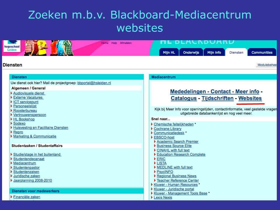 Zoeken m.b.v. Blackboard-Mediacentrum websites