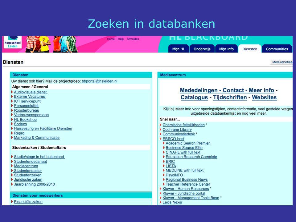 Zoeken in databanken