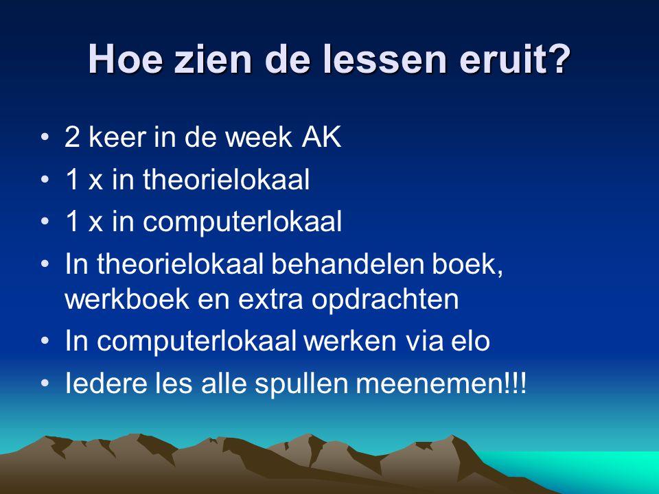 Hoe zien de lessen eruit? 2 keer in de week AK 1 x in theorielokaal 1 x in computerlokaal In theorielokaal behandelen boek, werkboek en extra opdracht