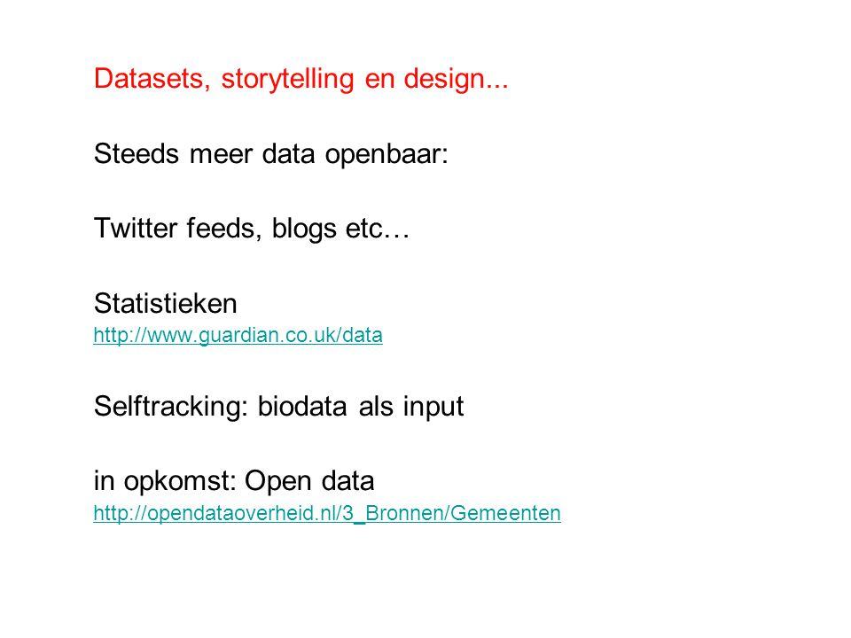 Datasets, storytelling en design... Steeds meer data openbaar: Twitter feeds, blogs etc… Statistieken http://www.guardian.co.uk/data Selftracking: bio