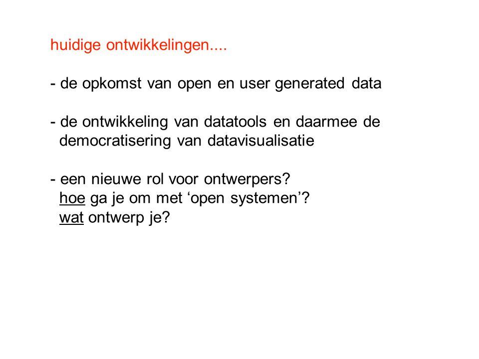 huidige ontwikkelingen.... - de opkomst van open en user generated data - de ontwikkeling van datatools en daarmee de democratisering van datavisualis