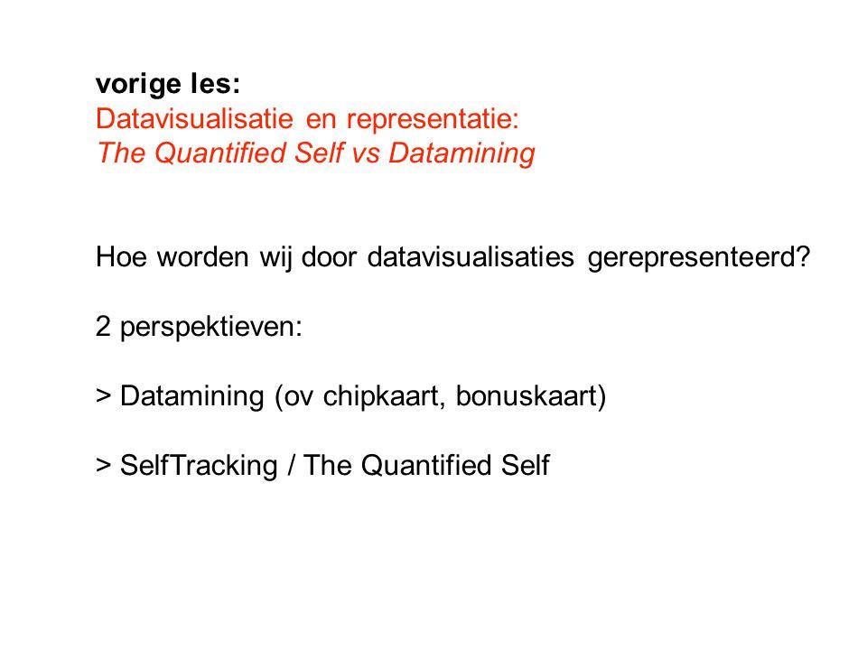 vorige les: Datavisualisatie en representatie: The Quantified Self vs Datamining Hoe worden wij door datavisualisaties gerepresenteerd.