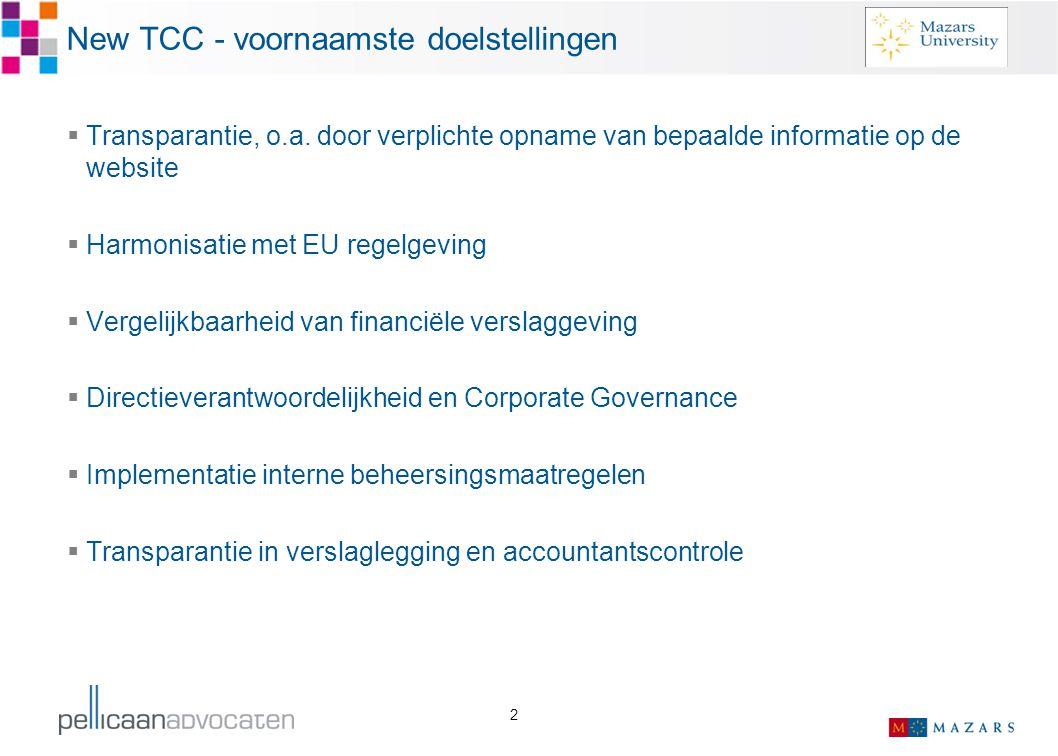 2 New TCC - voornaamste doelstellingen  Transparantie, o.a. door verplichte opname van bepaalde informatie op de website  Harmonisatie met EU regelg