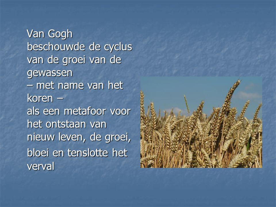 Van Gogh beschouwde de cyclus van de groei van de gewassen – met name van het koren – als een metafoor voor het ontstaan van nieuw leven, de groei, bl