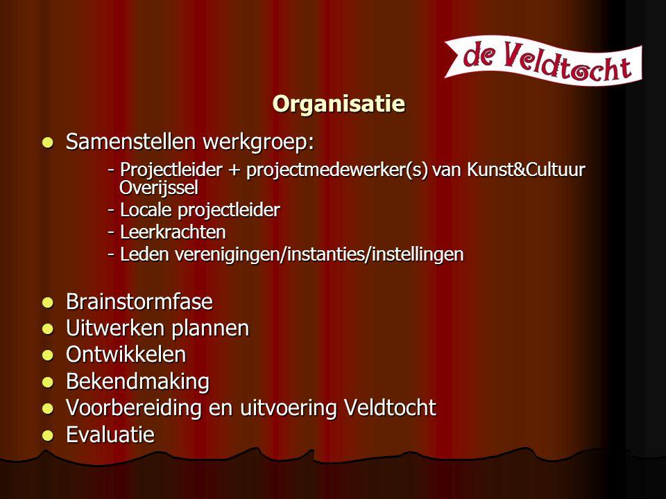 Organisatie Samenstellen werkgroep: Samenstellen werkgroep: - Projectleider + projectmedewerker(s) van Kunst&Cultuur Overijssel - Locale projectleider