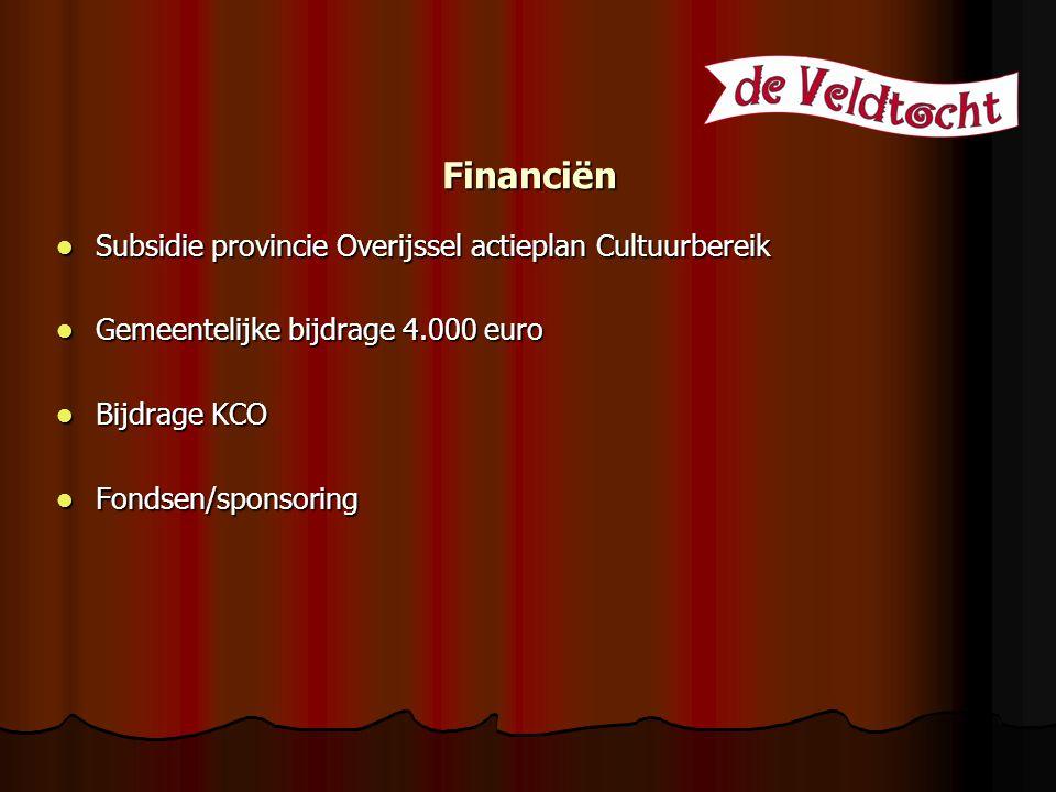 Financiën Subsidie provincie Overijssel actieplan Cultuurbereik Subsidie provincie Overijssel actieplan Cultuurbereik Gemeentelijke bijdrage 4.000 eur
