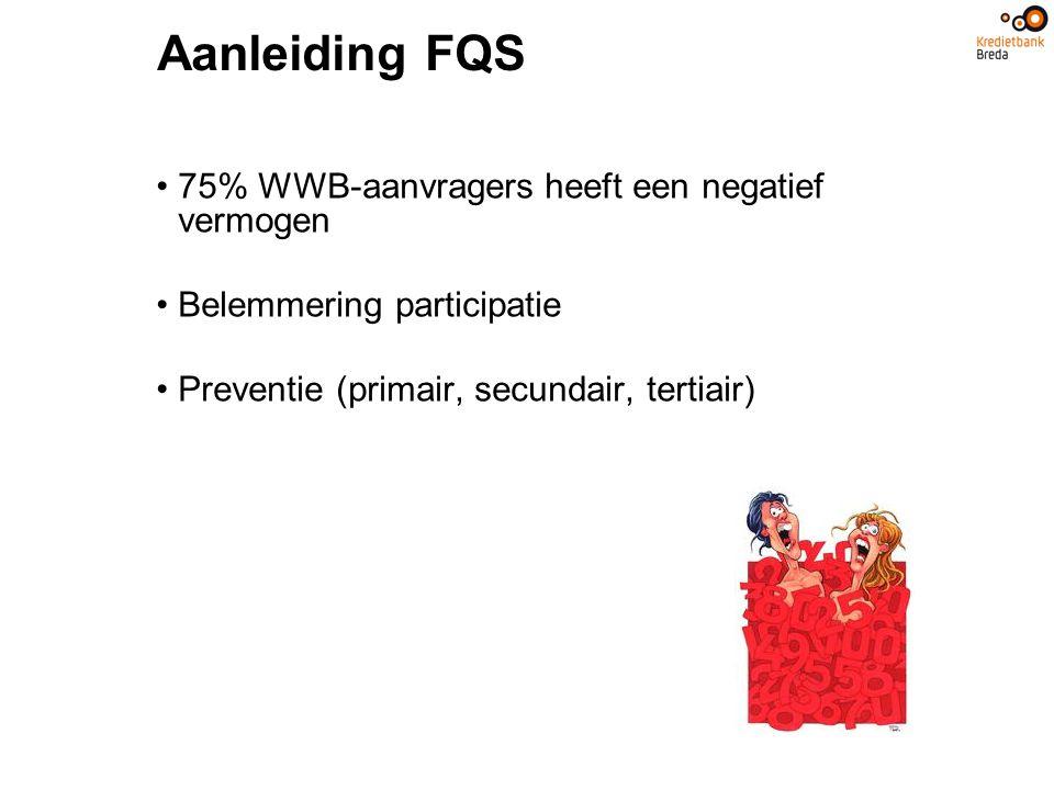 Aanleiding FQS 75% WWB-aanvragers heeft een negatief vermogen Belemmering participatie Preventie (primair, secundair, tertiair)