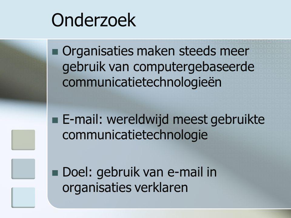 Onderzoek Organisaties maken steeds meer gebruik van computergebaseerde communicatietechnologieën E-mail: wereldwijd meest gebruikte communicatietechnologie Doel: gebruik van e-mail in organisaties verklaren
