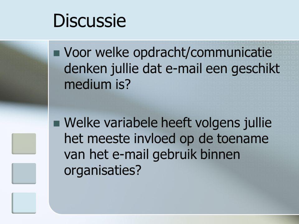 Discussie Voor welke opdracht/communicatie denken jullie dat e-mail een geschikt medium is.